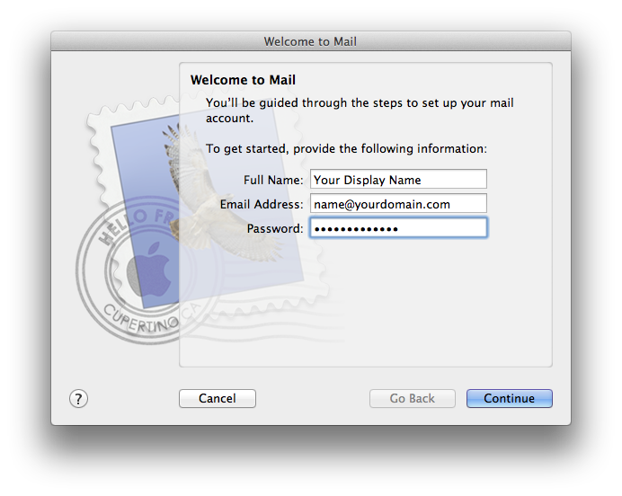 Setting up email in Apple Mail - Step 2