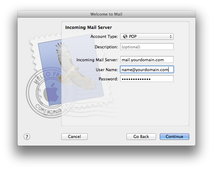 Setting up email in Apple Mail - Step 3