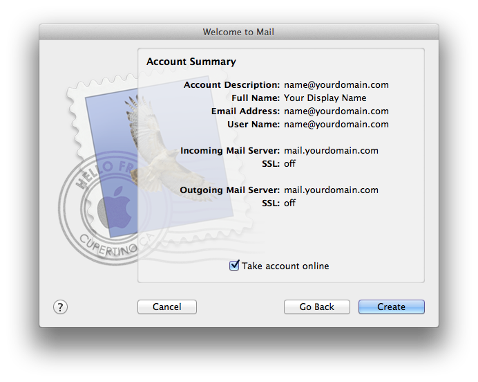 Setting up email in Apple Mail - Step 8