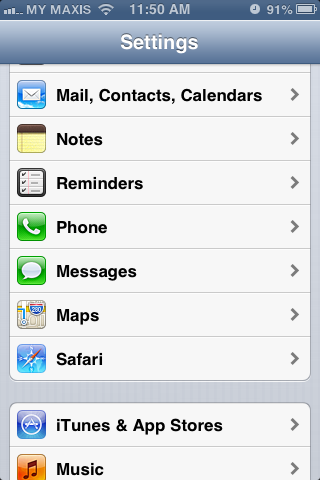 Setting up email in iPhone - Step 1