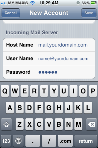 Setting up email in iPhone - Step 7