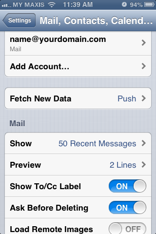 Setting up email in iPhone - Step 10