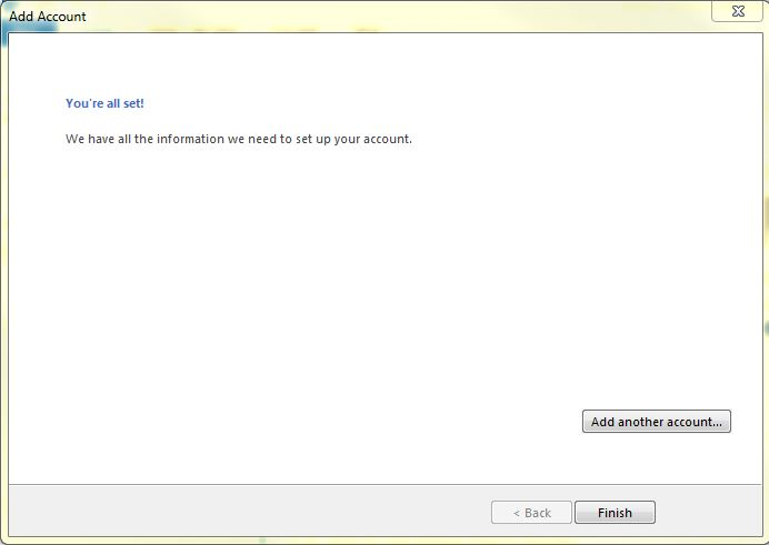 Setting up email in Microsoft Outlook 2013 - Step 6
