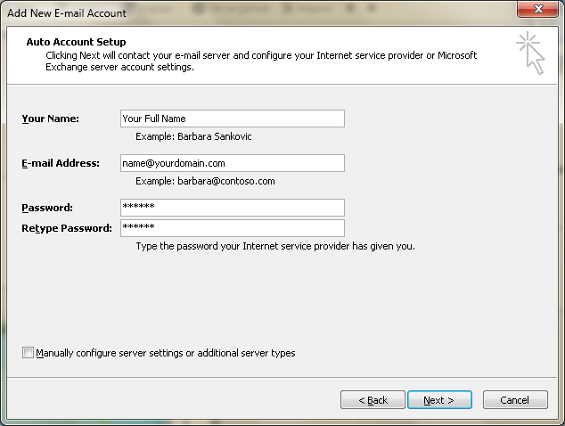 Setting up email in Microsoft Outlook - Step 4