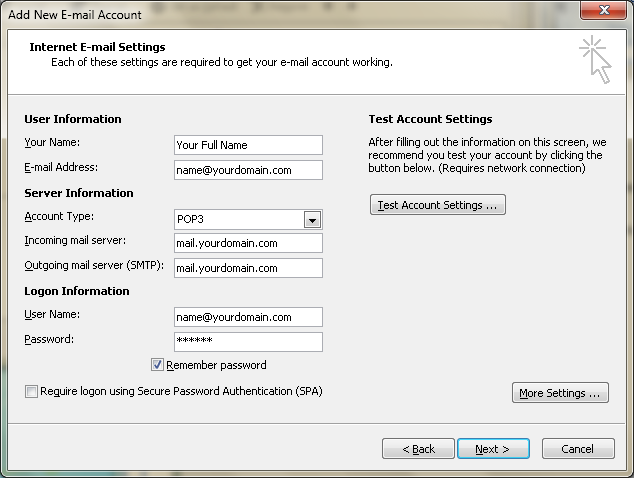 Setting up email in Microsoft Outlook - Step 7