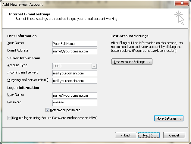 Setting up email in Microsoft Outlook - Step 11