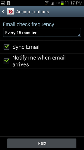 Setting up email in Samsung - Step 6