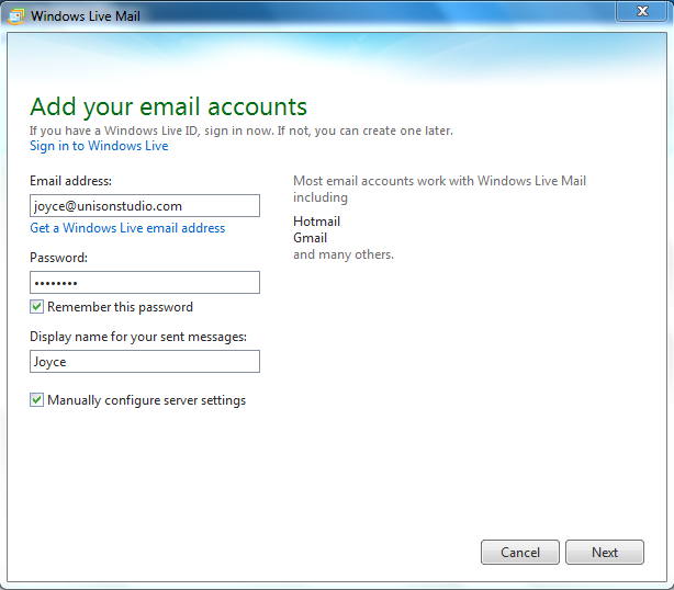 Setting up email in Windows Live Mail - Step 2