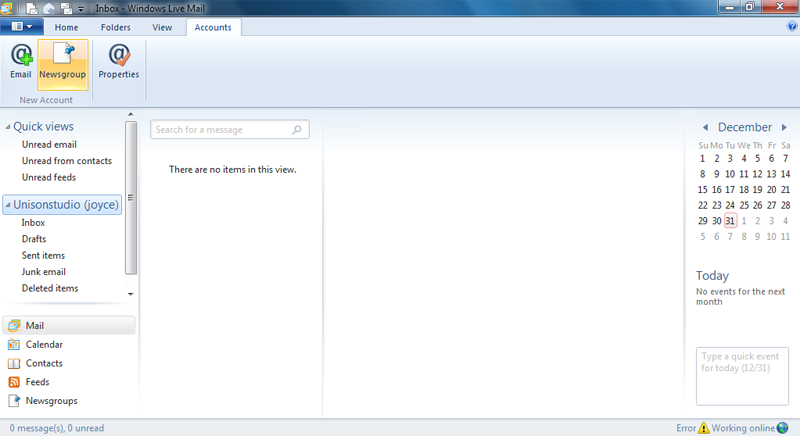 Setting up email in Windows Live Mail - Step 5